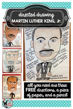 Engaging lesson detailing the life of MLK, Jr. Read a book or watch a video about this great man's life, use the directions and photo samples to lead students in a directed drawing, label the drawing (for example- label his feet- Martin used his feet to walk and lead a peaceful protest, label his mouth- he used WORDS not fists, etc.). Fun and informative! Get directions here!