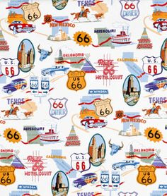 This would make great boxer shorts for the guys!  Alexander Henry Route 66 Natural Fabric - $8.95 | onlinefabricstore.net