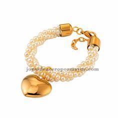 pearl with dangle charm bracelets in steel for women -SSBTG512197