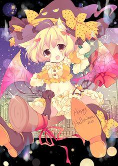 HAPPY HALLOWEEN~~★ anime art. . .witch costume. . .witch hat. . .cat girl. . .neko. . .cat ears. . .broom. . .flying. . .ribbons. . .bat wings. . .sparkling. . .cute. . .moe. . .kawaii