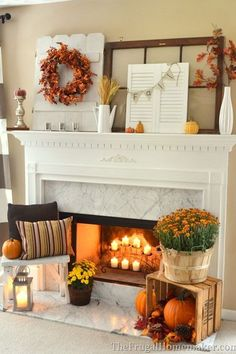 fireplace fall decor