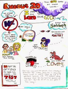 Doodle Through The Bible: Exodus 20 My Faith Art Journal entry for Good Morning Girls (GMG) Bible Study