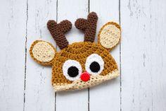Crochet Newborn baby reindeer hat Christmas hat by Stephyscrochet, $26.00
