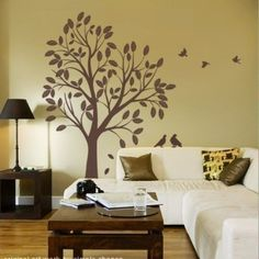 Large Tree with Leaves and Birds Decal - Vinyl Wall Sticker | SimpleShapes - Furnishings on ArtFire