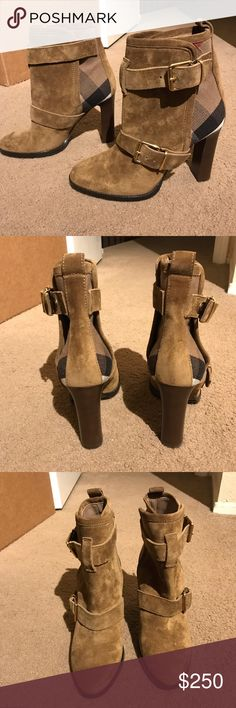 Burberry Baird boots size 37 Brand new no tags or box or dustbag. House check design with gold hardware buckle. Suede tannish leather. Heel height about 3 inches or more. Size 37. Burberry Shoes Ankle Boots & Booties