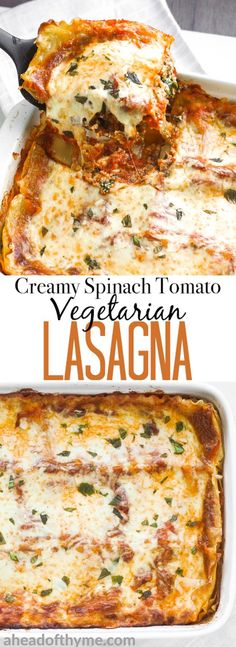 Take comfort food to another level with the best creamy spinach and tomato vegetarian lasagna. You won't even miss the meat!   aheadofthyme.com via @aheadofthyme