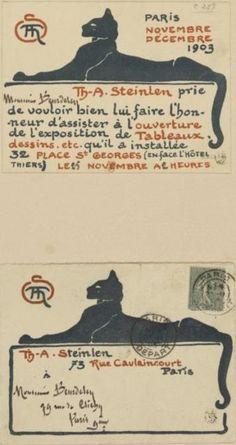 Cartes et Enveloppe Pour L'Exposition Steinlen (1903) (C 257) (Collection of the Bibliotheque Nationale de France)
