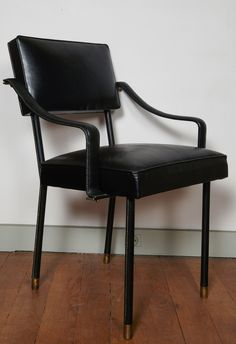 Jacques Quinet (1918-1992): 'Alsace' hand stiched leather desk chair