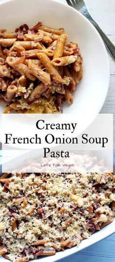 This Creamy French Onion Soup Pasta has all those classic French onion flavors with a cheesy pasta twist. Make this comforting vegan dish for a rich, savory dinner. Low Calorie Recipes, Meat Recipes, Vegetarian Recipes, Cooking Recipes, Pasta Recipes, Healthy Recipes, Pasta Casserole, Casserole Dishes, Creamy Tomato Pasta