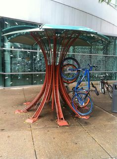 Covered bike rack. C