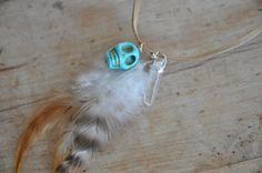 Feather Necklace Crystal Necklace Festival Wear by JoellesEmporium, £12.00