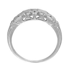 Sterling Silver 1920's Art Deco Filigree Floral Wedding Ring - Item: SSWR428 Antique Wedding Bands, Wedding Rings Vintage, Floral Print Skirt, Floral Prints, 925 Silver, Sterling Silver, 1920s Art Deco, Pretty Rings, Engagement Rings