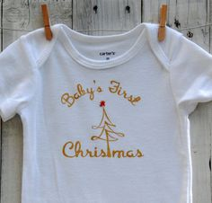 Cute Baby's First Christmas Tree Onesie gold by SimplySmashingBice