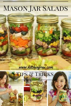Tips and tricks for making a great mason jar salad. Kids love helping make it as…