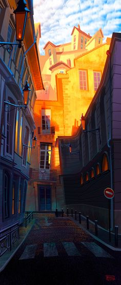Gil Rimmer-I love the great exaggerated sense of perspective on this, and the high contrast between light and dark, sunshine and shadow. It's almost like you can feel a temperature difference. Environment Concept Art, Environment Design, Bg Design, Drawn Art, Art Et Illustration, Animation Background, Game Background, Matte Painting, Norman Rockwell