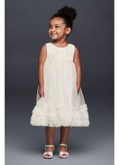 3D Pearl Blossom Tulle Flower Girl Dress OP245