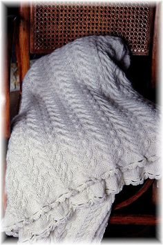Throw Blanket/Afghan  hand knit in cosy and warm by MountainMasche, $399.00