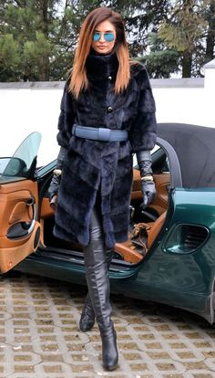 Modern mink fur coat