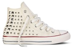 The Converse Rock Craftsmanship collection encapsulates everything there is about the spirit of rock and roll, all rolled up into the iconic Converse Chuck Taylor All Star. We all know that Converse trainers look their best. Studded Converse, Studded Sneakers, Converse Sneakers, Girls Sneakers, White Sneakers, Jack Purcell, I Love My Shoes, Me Too Shoes, Converse Chuck Taylor All Star