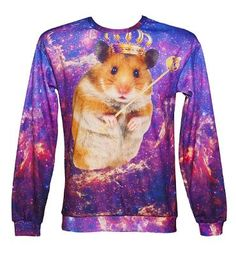 What a trip! This regal Hamster somehow seems perfectly at home in outer space, where he rules over all. Don't underestimate the power of the hamster