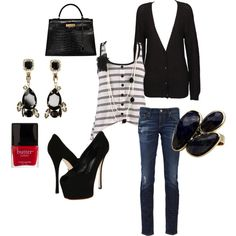Chic Black, created by #closet-of-angela on #polyvore. #fashion #style Agent Ninetynine AG Adriano Goldschmied