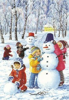 In keeping with the Winter theme, this week my preschoolers and I went on a Winter Yoga Adventure! When I asked the children what they love to do in the winter, there was so much excitement and so… Christmas Scenes, Christmas Art, Winter Christmas, Vintage Christmas, Winter Images, Winter Pictures, Christmas Pictures, Make A Snowman, Frosty The Snowmen