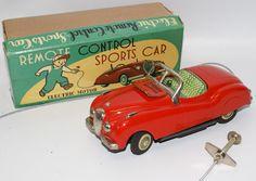 Vintage Tin Battery Op Remote Control Red Jaguar Sports Car by Modern Toys, Japan