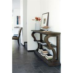 Chapman French Lodge Antique Scroll Oak Console Table | Kathy Kuo Home