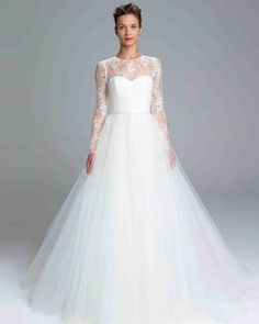 Long-Sleeve Wedding Dresses We Love | Martha Stewart Weddings - A full tulle skirt adds drama to this classic wedding dress with long sleeves and lace bodice in Amsale's Spring 2017 collection.