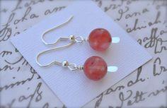 Cherry Quartz Gemstones . Earrings