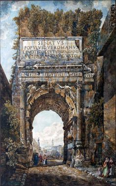 Abraham Louis Rodolphe Ducros  L' Arco di Tito - Emperor Titu's Arch The Arch of Titus in Rome Outline etching painted by hand by the author within the original gilded wood frame. Author: Rodolph Abraham Louis Ducros (1748 - 1810) Dimension: cm 70x50 and cm 100x90 with frame. Datation: between 1780 and 1790 Condition: very good
