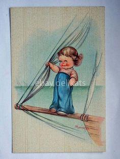 MARIAPIA TOMBA bambina marinaio barca vela vecchia cartolina | eBay