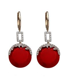 Round Red Quartz Stone and Diamond Drop Earrings