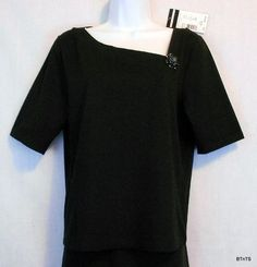 Mouse over image to zoom                                                                                                        Have one to sell? 	Sell it yourself       Requirements Stretch Top Womens Size L Cotton Black Elbow Sleeve Shirt NWT