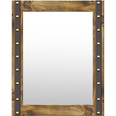 Add a touch of rustic appeal to the living room or entryway with this lovely mirror, featuring a wood frame with nailhead trim and metal accents.