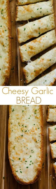 Only 4 ingredients to the Best Cheesy Garlic Bread you'll ever make! This recipe is essential whenever I make pasta for dinner! I Love Food, Good Food, Yummy Food, Cheesy Garlic Bread, Homemade Garlic Bread, Garlic Cheese Bread, Homemade Breads, Food Porn, Tapas