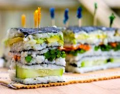 Layered Veggie Sushi ~ try it with organic, short grain brown rice!
