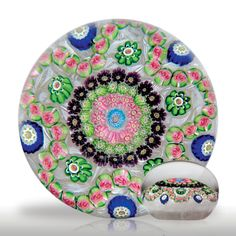 Very rare antique Clichy patterned millefiori on lace paperweight.