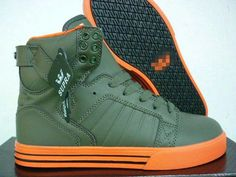 64eadd4d1abf Supra TK Society Shoes Black Army Green and Orange Fashion