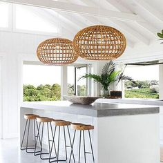 Rattan pendant lighting home ideas - Modern Rattan Light Fixture, Wicker Pendant Light, Large Pendant Lighting, Kitchen Pendant Lighting, Kitchen Pendants, Dining Room Lighting, Home Lighting, Lighting Design, Pendant Lights