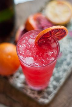blood orange cocktail with gin and champagne. yes please.