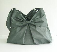 Sale - Grey Water-Resistant Bag, nylon, bow, tote, messenger bag, purse - Martha on Etsy, $39.00