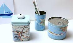 Landkartendosen - ein Fernweh-DIY Presents, Cards, Tins, Jute, Wanderlust, Paper, Vintage Maps, Tin Lunch Boxes, Pranks