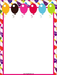 This free, printable party border features festive hats and colorful balloons. It's great for birthday invitations. Free to download and print.