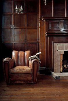 Masculine Traditional. Walnut & Leather. Feels like Scotland or Downton Abbey