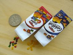 Miniature Goldfish Crackers - 1/6 Playscale Miniature. 12 goldfish in each packet.  snowfern/Etsy, Cindy Teh, Singapore.