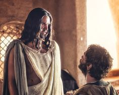 """Juan Pablo Di Pace, as Jesus, and Johannes Haukur Johannesson as Thomas, star in a scene from the 12-part NBC-TV series titled """"A.D. The Bible Continues,"""" currently airing Sunday evenings. (CNS photo/NBC) See ACTS April 14, 2015. Editors: for editorial use only."""