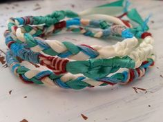 Embroidery thread and satin ribbon braided and knotted friendship bracelet