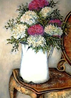 Stella Bruwer white enamel pitcher with mauve and white round flowers on fancy shabby  wooden  chair
