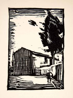 1936 Woodcut Ernst Ewerbeck Distillery Landscape Alpes-Maritimes French XGLC3